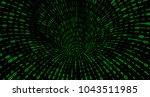 torus hole with green digital... | Shutterstock . vector #1043511985