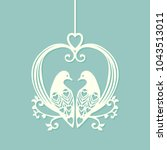 card with two doves. vector... | Shutterstock .eps vector #1043513011