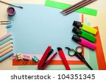 blue empty sheet with lots of... | Shutterstock . vector #104351345