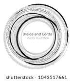 vector black and white braids... | Shutterstock .eps vector #1043517661