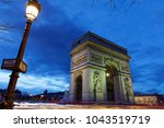 arc de triomphe  paris  france  ... | Shutterstock . vector #1043519719