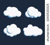 vector white cute cloud...   Shutterstock .eps vector #1043520325