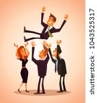 colleagues throw in the air... | Shutterstock .eps vector #1043525317