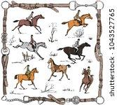 equestrian sport fox hunting... | Shutterstock .eps vector #1043527765