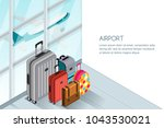 luggage  suitcase  bags near... | Shutterstock .eps vector #1043530021
