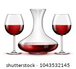 red wine in glasses and... | Shutterstock .eps vector #1043532145
