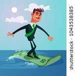 happy smiling successful surfer ... | Shutterstock .eps vector #1043538385