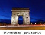 arc de triomphe  paris  france  ... | Shutterstock . vector #1043538409