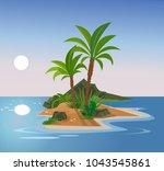 uninhabited island. vector flat ... | Shutterstock .eps vector #1043545861
