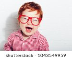 portrait of cute laughing... | Shutterstock . vector #1043549959