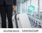 shield protection travel on... | Shutterstock . vector #1043563189