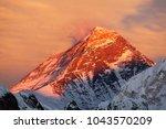 Stock photo evening colored view of mount everest from gokyo ri khumbu valley solukhumbu sagarmatha national 1043570209