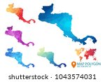 central america map   set of... | Shutterstock .eps vector #1043574031