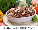 shepherd's pie. carne seca... | Shutterstock . vector #1043575651