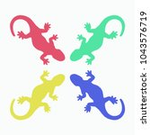colorful lizards silhouette... | Shutterstock .eps vector #1043576719