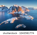 aerial view of reine and hamnoy ... | Shutterstock . vector #1043581774