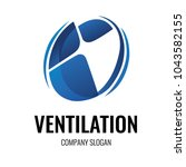 ventilation wind turbine logo... | Shutterstock .eps vector #1043582155