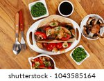 big mexican taco served with... | Shutterstock . vector #1043585164