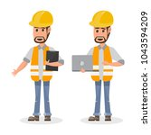 architect  foreman  engineering ... | Shutterstock .eps vector #1043594209