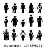 set of female pictograms that... | Shutterstock .eps vector #1043598331