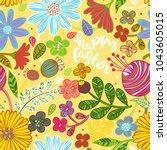 happy easter. seamless vector... | Shutterstock .eps vector #1043605015