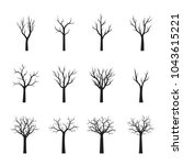 set black trees without leaves. ... | Shutterstock .eps vector #1043615221