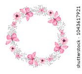 watercolor wreath on white... | Shutterstock . vector #1043617921