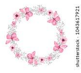 watercolor wreath on white...   Shutterstock . vector #1043617921