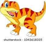 cartoon tyrannosaurus isolated... | Shutterstock .eps vector #1043618335