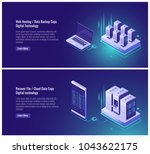 web hosting  data backup copy ... | Shutterstock .eps vector #1043622175