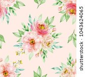 watercolor floral background... | Shutterstock . vector #1043624065
