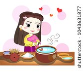 thai woman loves to cook a... | Shutterstock .eps vector #1043631877