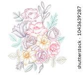 vintage vector floral... | Shutterstock .eps vector #1043639287