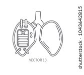 bionic lungs prosthesis line...   Shutterstock .eps vector #1043642815