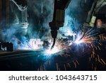 team industrial robot  are... | Shutterstock . vector #1043643715