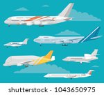 modern types of aircraft.... | Shutterstock . vector #1043650975