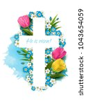 christian  cross with... | Shutterstock .eps vector #1043654059