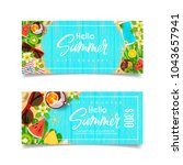 seasonal summer gift voucher... | Shutterstock .eps vector #1043657941