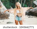 one cute beautiful girl in a... | Shutterstock . vector #1043662771