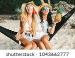 two cute beautiful girls in...   Shutterstock . vector #1043662777