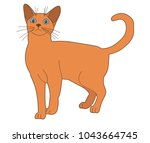vector  isolated brown cat on a ... | Shutterstock .eps vector #1043664745