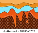 all color of caramel melted on... | Shutterstock .eps vector #1043665759