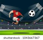 soccer player kicking ball in... | Shutterstock .eps vector #1043667367