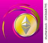ethereum coin illustration.... | Shutterstock .eps vector #1043668795