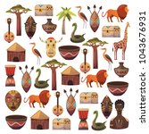 african pattern. travel to... | Shutterstock .eps vector #1043676931