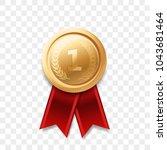 1 winner golden medal award... | Shutterstock .eps vector #1043681464