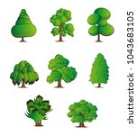 set of abstract stylized trees. ... | Shutterstock .eps vector #1043683105