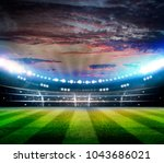 lights at night and stadium 3d... | Shutterstock . vector #1043686021