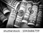 rolled dollar bills  money and... | Shutterstock . vector #1043686759