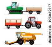 heavy agricultural machinery... | Shutterstock .eps vector #1043690947